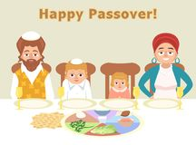 Jewish family at feast of passover greeting card illustration. Jewish family at feast of passover - greeting cart vector cartoon illustration in flat style Royalty Free Stock Image