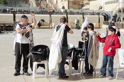 Jewish family in Jerusalem. Jewish familygetting ready for praying at the Western wall in Jerusalem Stock Images