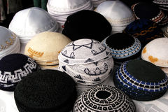 Jewish Fashion - Kipa. Collection of different Kippah, Kipa and  Yarmulke. It's a hemispherical or platter-shaped cap, usually made of cloth, often worn by Royalty Free Stock Photography