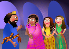 Jewish Feast of Purim. Fun cartoon illustration depicting the Jewish feast of lots with beautiful girls brought to the palace as the king seeks a new queen Stock Photos