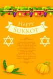 Jewish festival Happy Sukkot Stock Photography