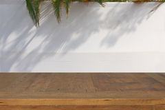 Jewish festival of Sukkot. Traditional succah & x28;hut& x29;. Empty wooden old table for product display and presentation. Jewish festival of Sukkot Stock Image