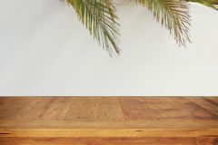 Jewish festival of Sukkot. Traditional succah & x28;hut& x29;. Empty wooden old table for product display and presentation Royalty Free Stock Image