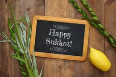 Jewish festival of Sukkot. Traditional symbols & x28;The four species& x29;: Etrog, lulav, hadas, arava Stock Photo
