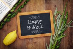 Jewish festival of Sukkot. Traditional symbols & x28;The four species& x29;: Etrog, lulav, hadas, arava Stock Photos