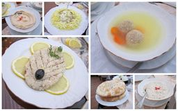 Jewish food collage. Traditional Jewish food in a restaurant collage Royalty Free Stock Photo