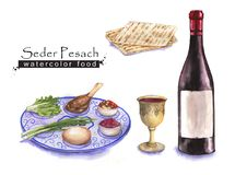 Jewish food. Hand drawn watercolor set of holiday Jewish food. Seder Pesach plate, matzah and wine. Passover meal Royalty Free Illustration