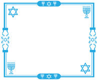 Jewish frame. Blue jewish frame with the star of David and menorah on white background Stock Images