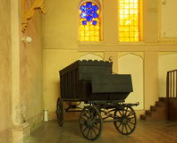 Jewish funeral hearse. Jewish cemetery in Lodz. The interior of the funeral home and the funeral hearse Royalty Free Stock Images