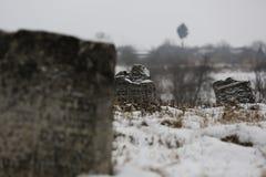 Jewish gravestone in the cemetery. Ukraine, Medzhybozh. Jewish cemetery, the magic of Rabbi Israel Baal Shem Tov royalty free stock photo