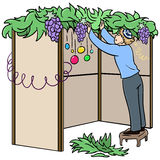 Jewish Guy Builds Sukkah For Sukkot. A vector illustration of a Jewish guy standing on a stool and building a Sukkah for the Jewish holiday Sukkot stock illustration