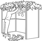 Jewish Guy Builds Sukkah For Sukkot Coloring Page. A vector illustration coloring page of a Jewish guy standing on a stool and building a Sukkah for the Jewish vector illustration