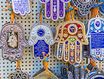 The Jewish hamsa. The hamsa with Hebrew letters is the historic protection symbol, nowadays popular among tourists, Jerusalem, Israel royalty free stock photo