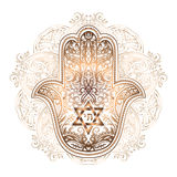 Jewish hamsa tattoo. Elegant hand drawn Isolated raditional Jewish sacred amulet and religious symbols - Hamsa or hand of Miriam, palm of David, star of David vector illustration