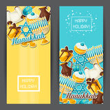 Jewish Hanukkah celebration banners with holiday sticker objects Stock Photo