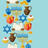 Jewish Hanukkah celebration seamless pattern with holiday objects Stock Photos