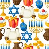 Jewish Hanukkah celebration seamless pattern with holiday objects Stock Image