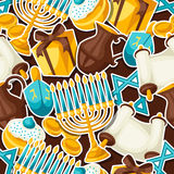 Jewish Hanukkah celebration seamless pattern with holiday sticker objects Royalty Free Stock Photos