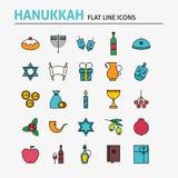 Jewish Hanukkah Colorful Flat Line Icons Set Stock Photo