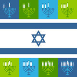 Jewish Hanukkah Menorah Candles Icons Stock Photos