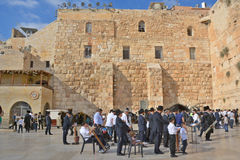 Jewish hasidic. JERUSALEM ISRAEL 26 10 16: Jewish hasidic pray a the Western Wall, Wailing Wall the Place of Weeping is an ancient limestone wall in the Old City stock image