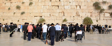 Jewish hasidic. JERUSALEM ISRAEL 26 10 16: Jewish hasidic pray a the Western Wall, Wailing Wall the Place of Weeping is an ancient limestone wall in the Old City stock photography