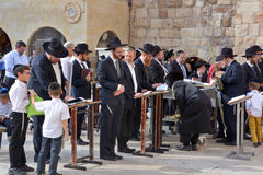Jewish hasidic. JERUSALEM ISRAEL 26 10 16: Jewish hasidic pray a the Western Wall, Wailing Wall the Place of Weeping is an ancient limestone wall in the Old City royalty free stock photography