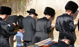 Jewish hasidic. JERUSALEM ISRAEL 26 10 16: Jewish hasidic pray a the Western Wall, Wailing Wall the Place of Weeping is an ancient limestone wall in the Old City stock photos