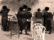 Jewish hasidic. JERUSALEM ISRAEL 26 10 16: Jewish hasidic pray a the Western Wall, Wailing Wall the Place of Weeping is an ancient limestone wall in the Old City royalty free stock photos