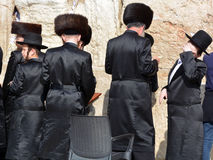 Jewish hasidic. JERUSALEM ISRAEL 26 10 16: Jewish hasidic pray a the Western Wall, Wailing Wall the Place of Weeping is an ancient limestone wall in the Old City stock photo