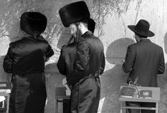Jewish hasidic. JERUSALEM ISRAEL 26 10 16: Jewish hasidic pray at the Western Wall, Wailing Wall the Place of Weeping is an ancient limestone wall in the Old stock image