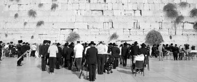 Jewish hasidic. JERUSALEM ISRAEL 26 10 16: Jewish hasidic pray at the Western Wall, Wailing Wall the Place of Weeping is an ancient limestone wall in the Old royalty free stock photo