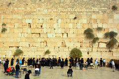 Jewish hasidic pray. JERUSALEM ISRAEL 26 10 16: Jewish hasidic pray at the Western Wall, Wailing Wall the Place of Weeping is an ancient limestone wall in the stock photography