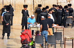 Jewish hasidic pray. JERUSALEM ISRAEL 26 10 16: Jewish hasidic pray at the Western Wall, Wailing Wall the Place of Weeping is an ancient limestone wall in the royalty free stock photography