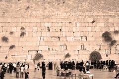 Jewish hasidic pray. JERUSALEM ISRAEL 26 10 16: Jewish hasidic pray at the Western Wall, Wailing Wall the Place of Weeping is an ancient limestone wall in the stock image