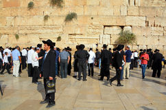Jewish hasidic pray. JERUSALEM ISRAEL 26 10 16: Jewish hasidic pray at the Western Wall, Wailing Wall the Place of Weeping is an ancient limestone wall in the stock photo