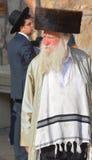 Jewish hasidic pray. JERUSALEM ISRAEL 26 10 16: Jewish hasidic pray at the Western Wall, Wailing Wall the Place of Weeping is an ancient limestone wall in the royalty free stock photo