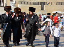 Jewish hasidic pray. JERUSALEM ISRAEL 26 10 16: Jewish hasidic pray at the Western Wall, Wailing Wall the Place of Weeping is an ancient limestone wall in the royalty free stock images
