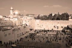 Jewish hasidic pray. JERUSALEM ISRAEL 26 10 16: Jewish hasidic pray at the Western Wall, Wailing Wall the Place of Weeping is an ancient limestone wall in the royalty free stock image