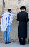 Jewish hasidic pray a the Western Wall. JERUSALEM ISRAEL 26 10 16: Jewish hasidic pray a the Western Wall, Wailing Wall the Place of Weeping is an ancient stock photos