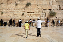 Jewish hasidic pray a the Western Wall Stock Images