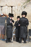 Jewish hasidic pray a the Western Wall. JERUSALEM ISRAEL 26 10 16: Jewish hasidic pray a the Western Wall, Wailing Wall the Place of Weeping is an ancient royalty free stock photo