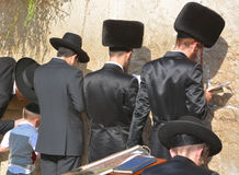 Jewish hasidic pray a the Western Wall. JERUSALEM ISRAEL 26 10 16: Jewish hasidic pray a the Western Wall, Wailing Wall the Place of Weeping is an ancient royalty free stock image
