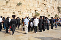 Jewish hasidic pray a the Western Wall. JERUSALEM ISRAEL 26 10 16: Jewish hasidic pray a the Western Wall, Wailing Wall the Place of Weeping is an ancient Stock Photo