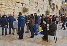 Jewish hasidic pray a the Western Wall of Old City of Jerusalem. JERUSALEM, ISRAEL - DECEMBER 26, 2016: Jewish hasidic pray a the Western Wall, Wailing Wall the Royalty Free Stock Images
