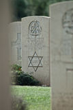 Jewish headstone in british military cemetery. Picture useful for Commemorative events of world war II . Allied landing in Sicily for Husky operation Royalty Free Stock Photos