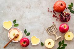 Jewish holiday background - food for Rosh Hashanah. Above view