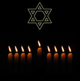 Jewish holiday background with star and candles stock photos