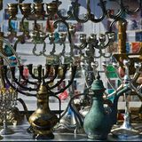 The Jewish holiday candlesticks background. Royalty Free Stock Photo