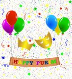 Happy Purim Greeting with Balloons and Confetti stock illustration